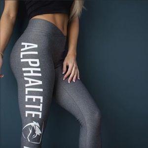Alphalete V-Cut spell out logo leggings in grey